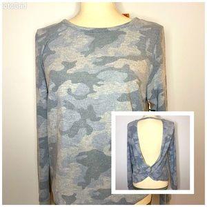 NWT Sweet&Sinful Grey Camo twist Backless sweater